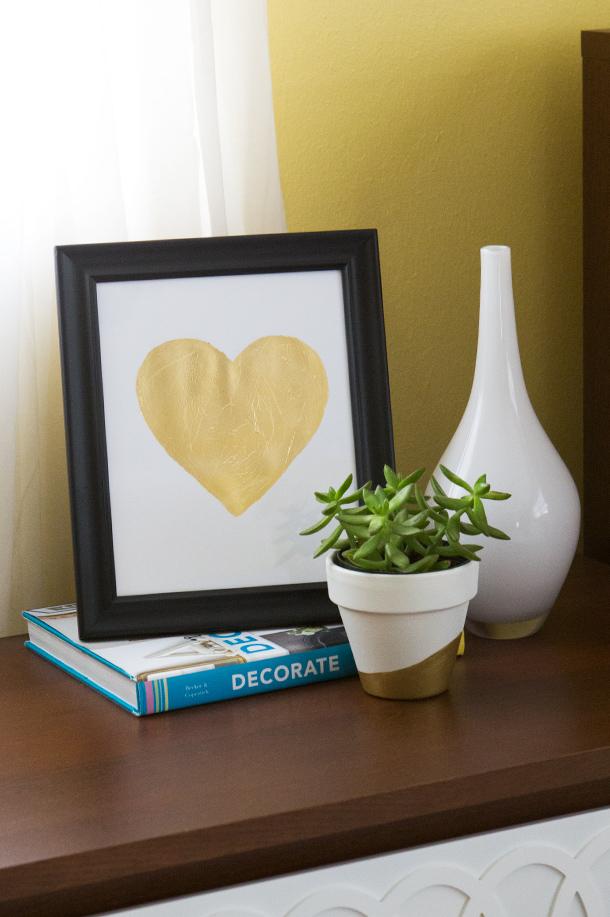 DIY Gold Leaf Heart Art