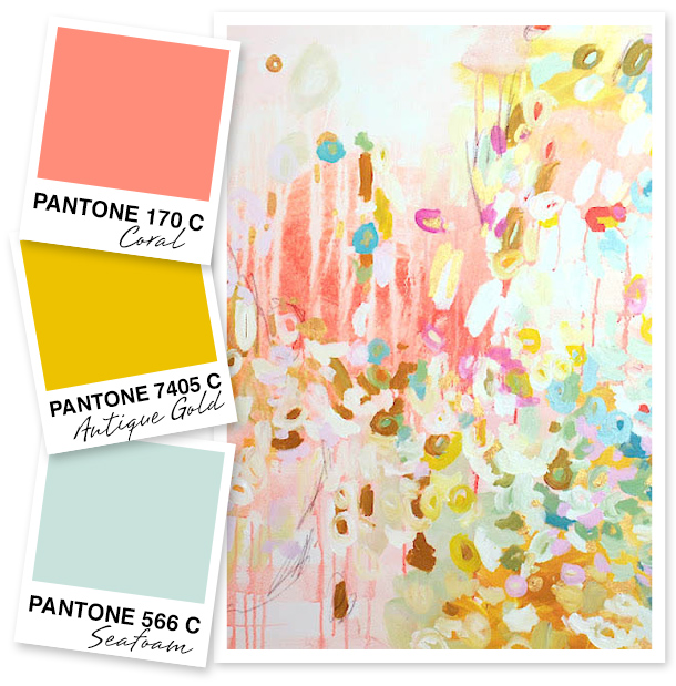 Coral, Antique Gold and Seafoam Green Color Palette