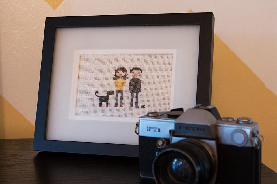 House Tour: Cross Stitch Family Portrait