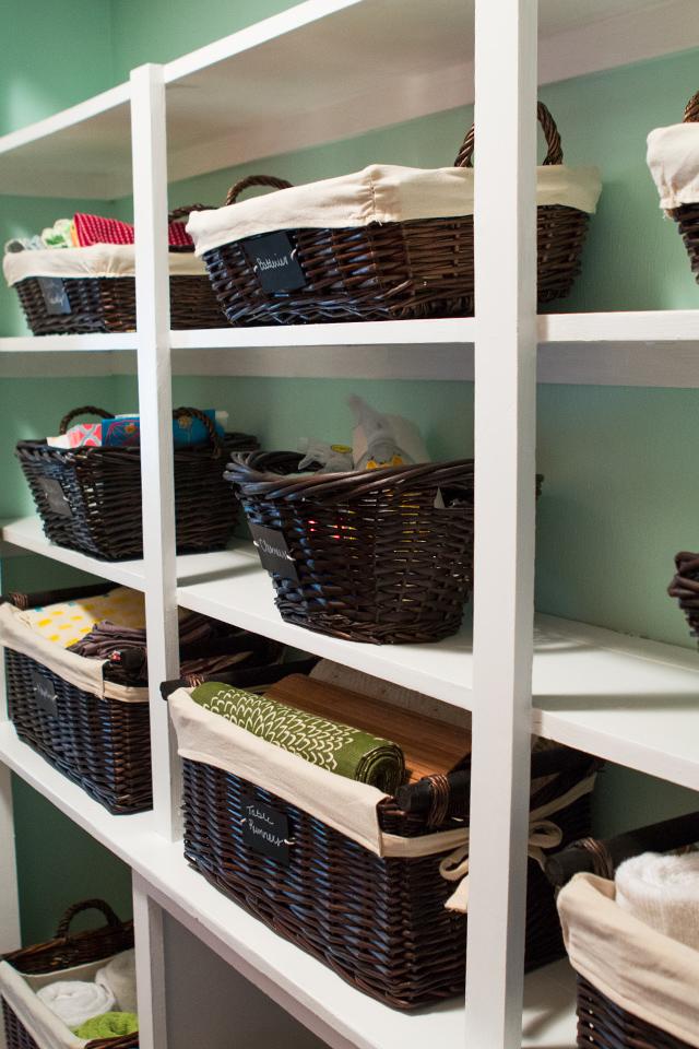 Open Shelving Hallway Closet Organization