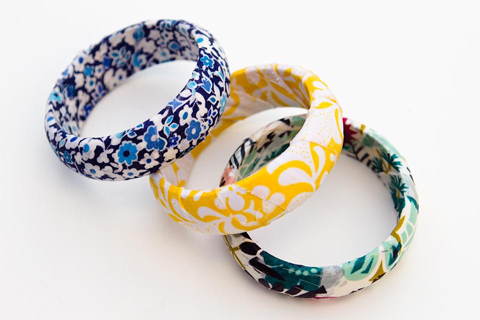 Use up fabric scraps to create fun bangle bracelets.