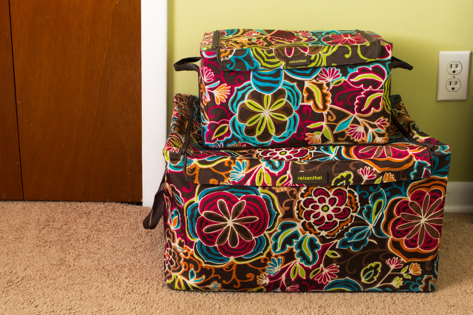 Floral fabric storage totes hold a ton of stuff while looking pretty.