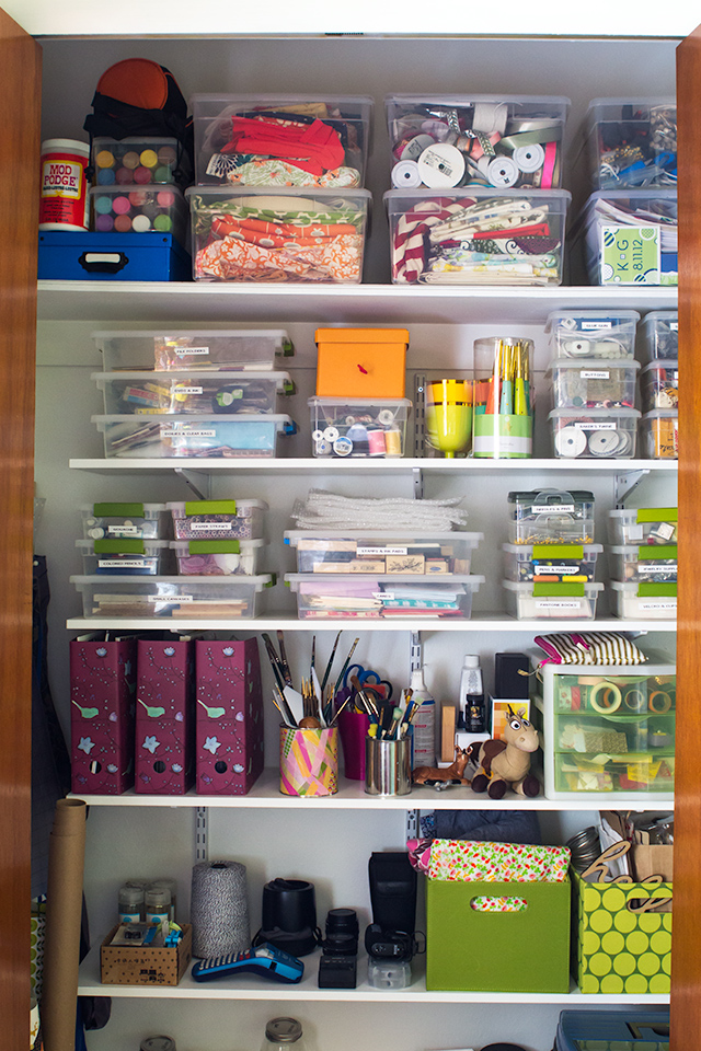 An organized craft closet. Install shelving in a closet to maximize the storage.