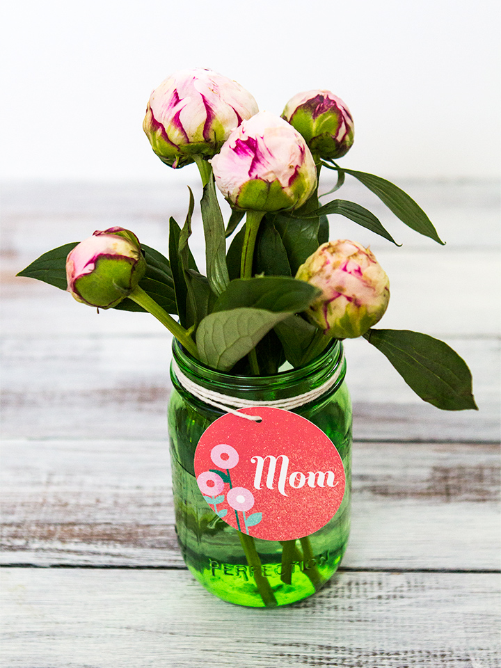Give mom her favorite flowers in a green mason jar adorned with this free printable tag for Mother's Day.