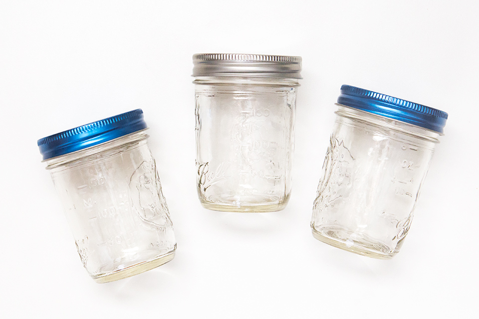 Ball mason jars with blue lids are perfect for serving layered desserts like trifles and cupcakes!