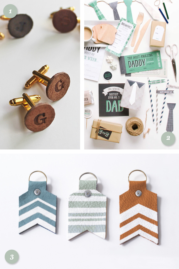 Need a last minute Father's Day gift? Make dad a pair of monogram leather cufflinks, a painted leather keychain, or a printable book or garland!
