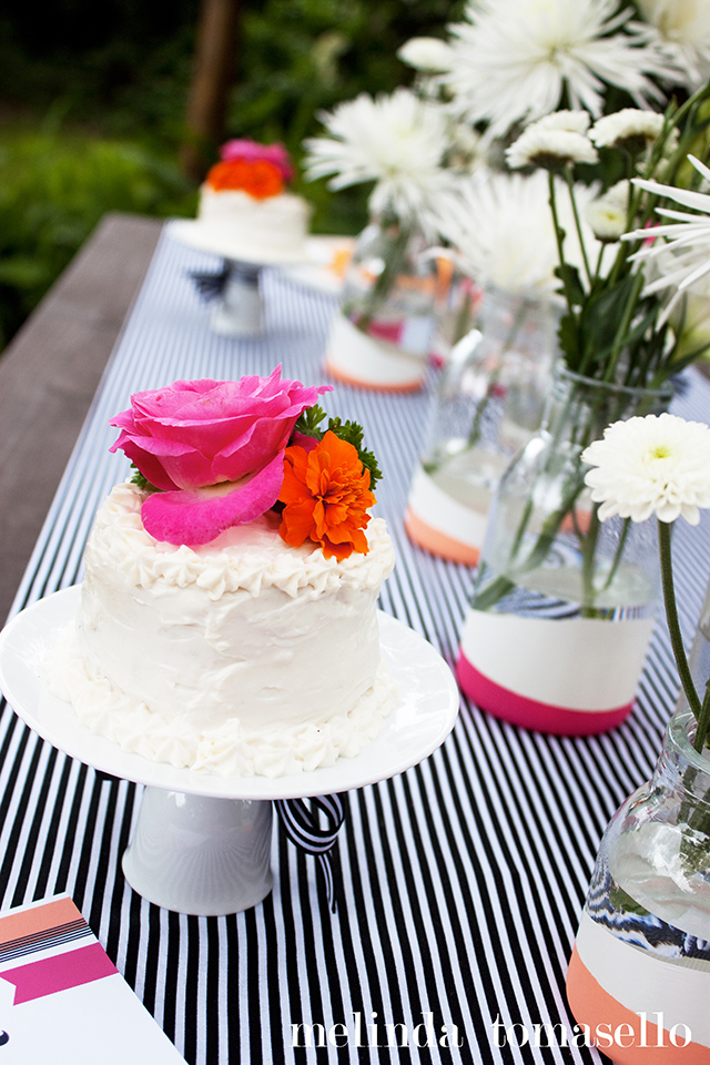 Get inspired to host a fun summer party with this pink and orange party styled shoot. Click through for DIY vase tutorial.