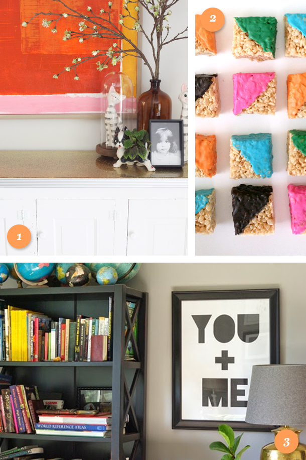 Add some color to your weekend and to your home! Learn how to make a gold glitter tabletop, make color blocked rice krispy squares, or download this free printable wall art.