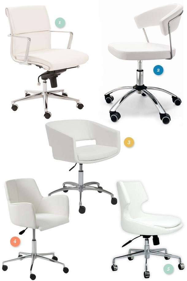 Tired of your uncomfortable boring black office chair? Try one of these white low back leatherette office chairs to add some style and function to your workspace.