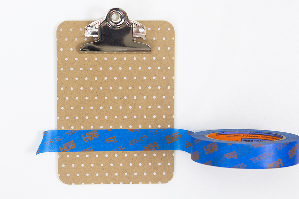 ScotchBlue™ Painter's Tape for Delicate Surfaces is perfect for painting chalkboard paint onto these mini clipboards.