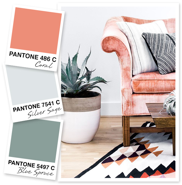 This living space has the best colors! I'm loving the mix of soft neutrals with a pop of coral.