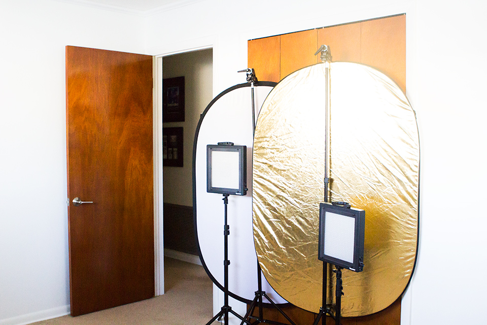 Here's some of the lighting equipment that blogger Sarah Hearts uses to take her photos.