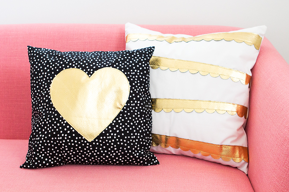 Love these gold heart and scalloped throw pillows! Such a cute and simple way to add some shimmer to a room!