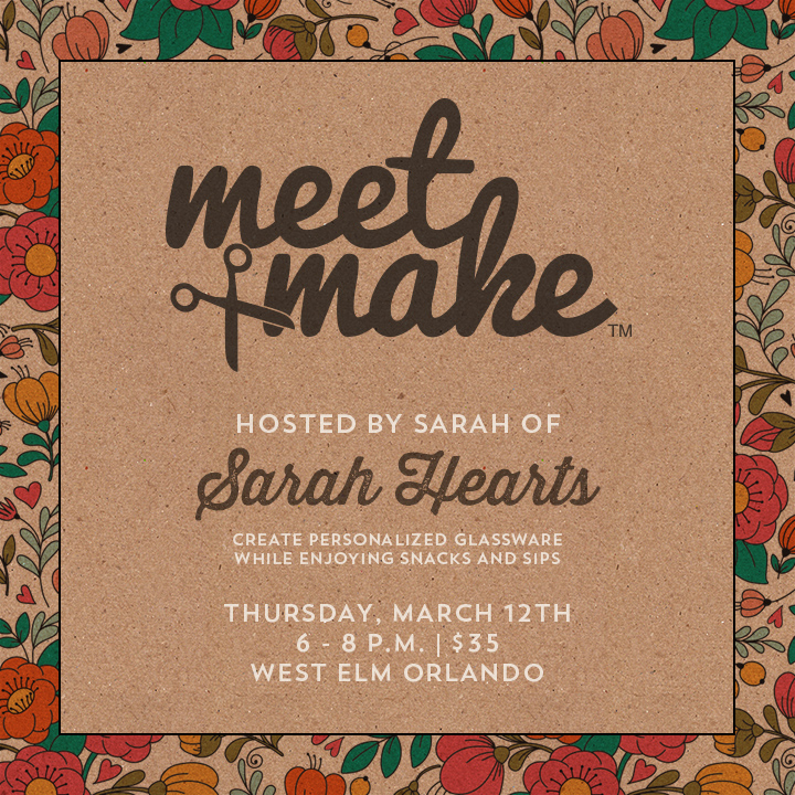 Come create with Sarah Hearts at Meet + Make! You'll create a set of glassware, enjoy snacks and sips, and take home a swag bag full of carefully curated items. Get your ticket before they're gone!