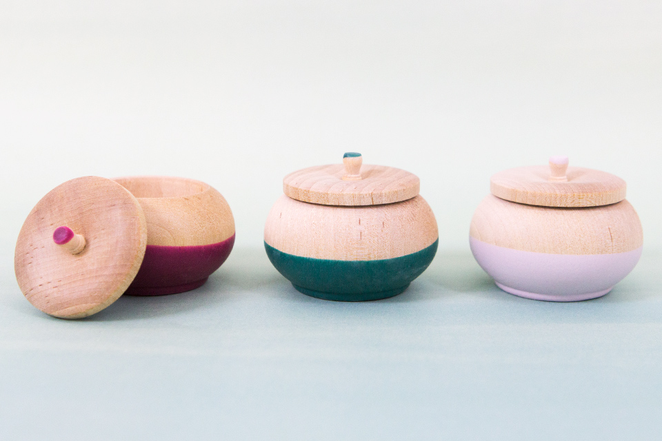 Wind and Willow Home makes beautiful colored rubber dipped wood items including these little pots that are perfect for storing rings in.