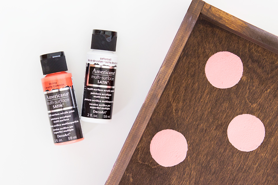 Americana Multi-Surface paint is the perfect paint for creating a polka dot wood tray. It covers so well!