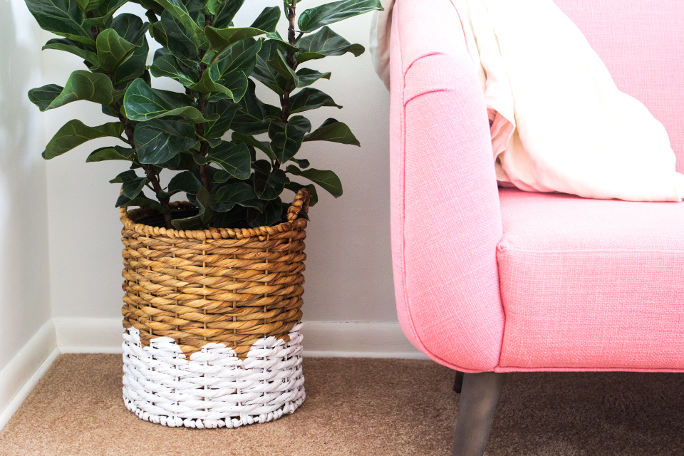 Love this adorable painted basket with a scalloped border! It's perfect as a planter or even as a storage tote.