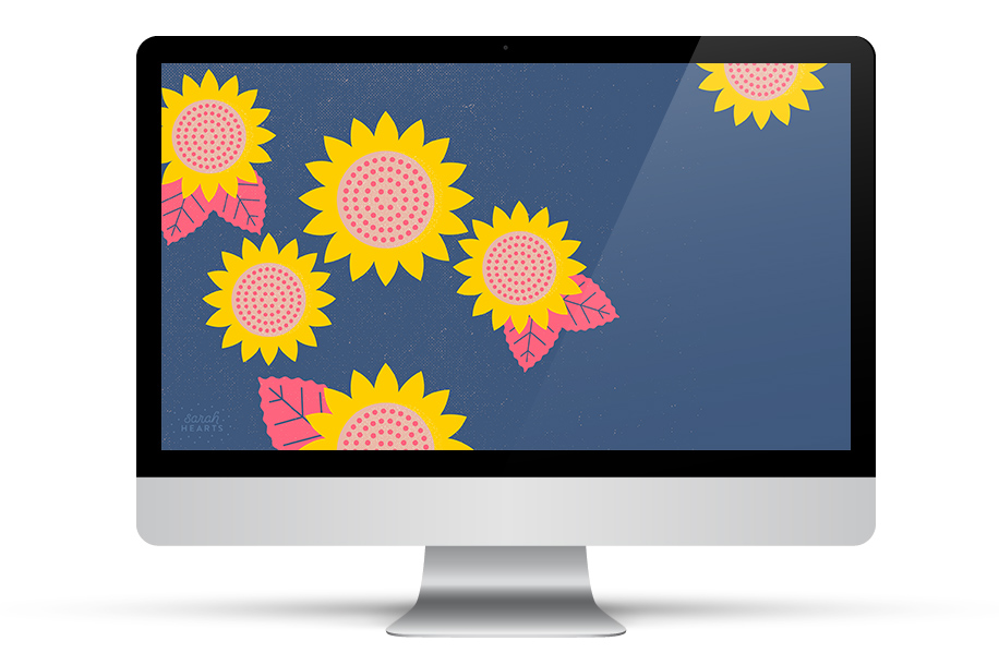 These bright modern sunflowers are the perfect way to add a pop of color to your desktop (click through to get it for your phone and tablet too).