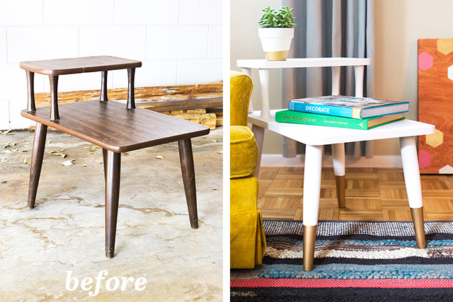 Loving this before and after of a mid-century side table. Such a simple transformation makes such a huge impact in a room!