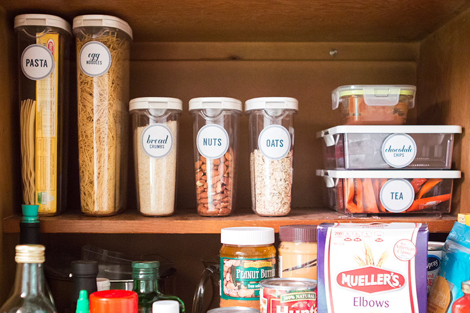 The key to an organized pantry is clearly labeling items and making often used items accessible.