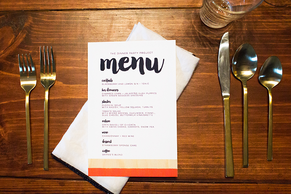 Create a stand out menu using a pretty brush script font and adding real wood veneer.