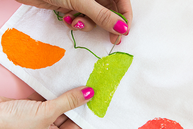 citrus-A simple straight stitch is all you need to know to create these adorable citrus towels.-9