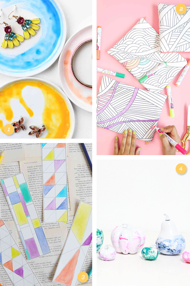 If you thought coloring books and watercolors were just for kids the fun DIY projects will make you rethink that! (Click through for links to each easy to make DIY project)