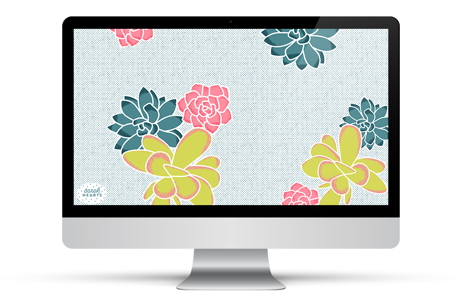 Add some succulents to your desktop, phone or tablet with this free wallpaper by Sarah Hearts.