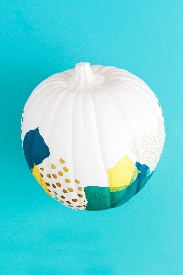 Skip carving this Halloween and decoupage your pumpkin instead! (Click through for full tutorial) #12MonthsofMartha