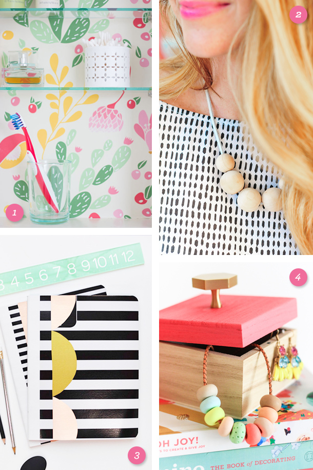 Add some color to your bathroom, office or accessories with this fun and easy DIY projects! (Click through for links to each project)