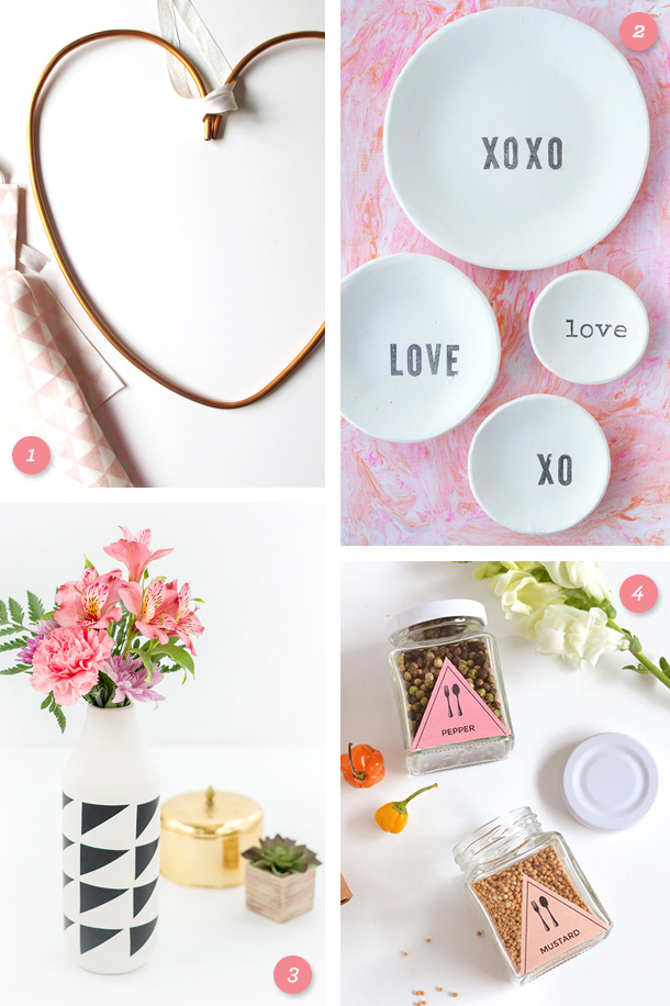 Create something beautiful for your home like a copper heart wreath, a clay ring dish, a geometric vase, or pretty spice jar labels! (Click through for links to each project)