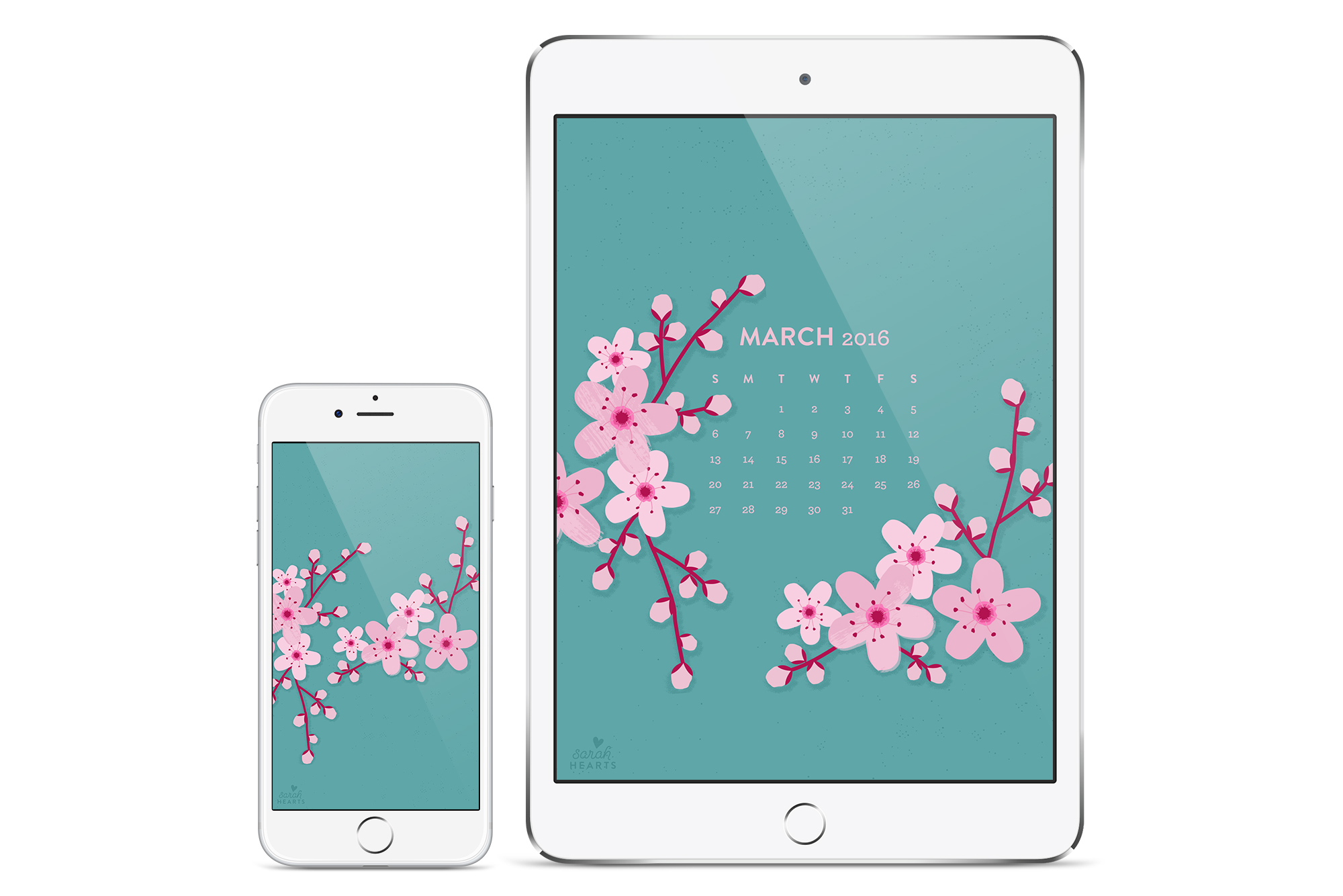Add some beauty to your computer, phone or tablet with this free cherry blossom calendar wallpaper!