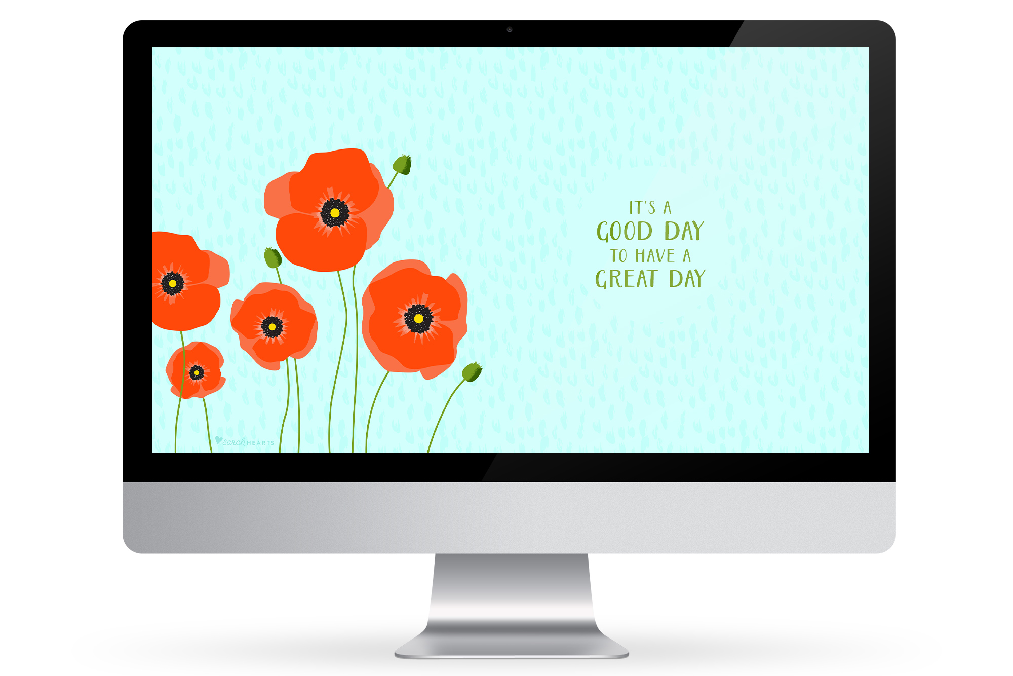 Add some fresh picked poppy flowers to your computer, phone or tablet with this free downloadable wallpaper by @sarahhearts.