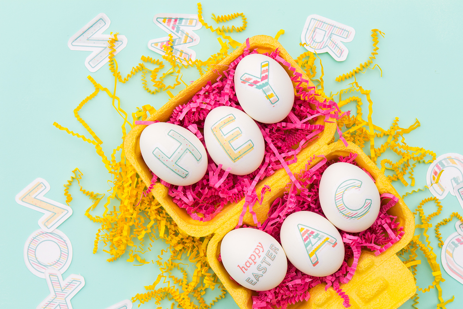 Skip dying Easter eggs this year and create your own monogram lettered eggs! Click through to download the free printable and Silhouette cut files to create your own image transfers.