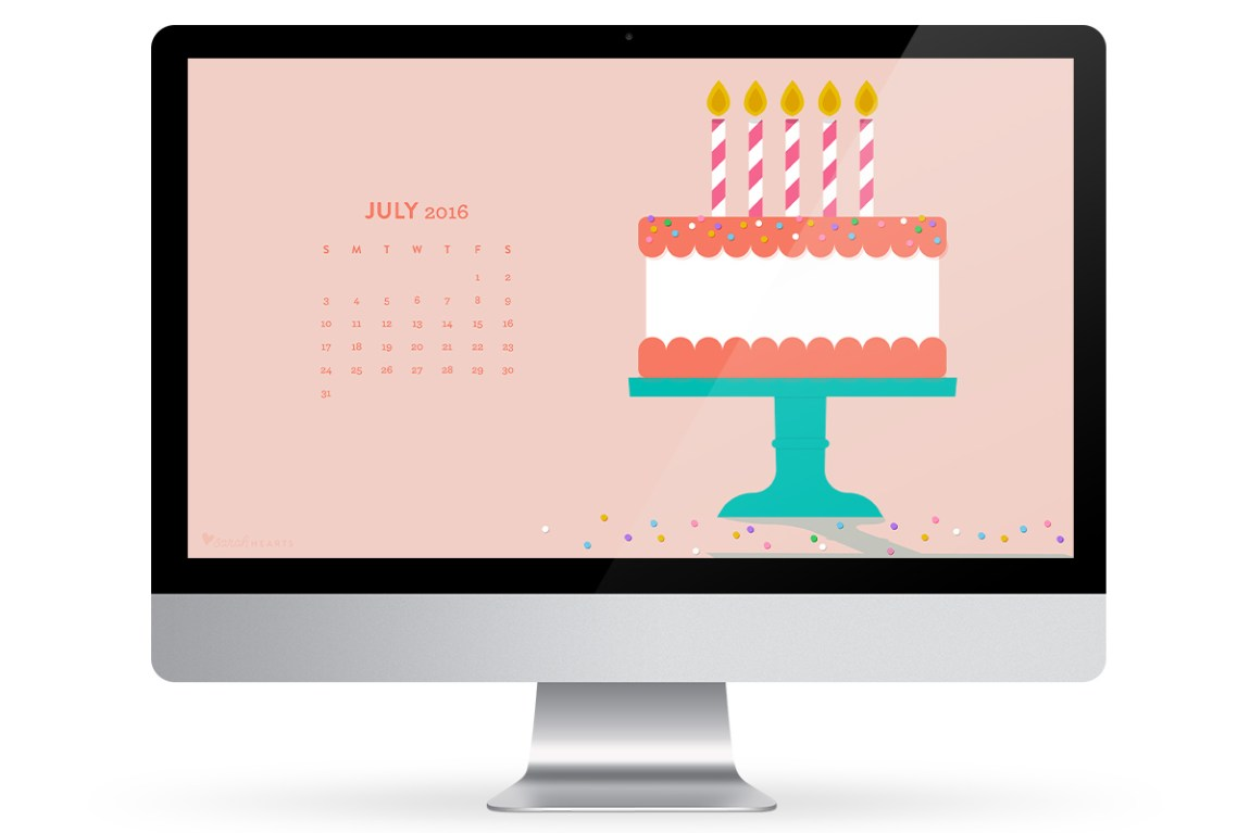 Update your computer, phone or tablet with this free birthday cake wallpaper! It features a handy July 2016 calendar.