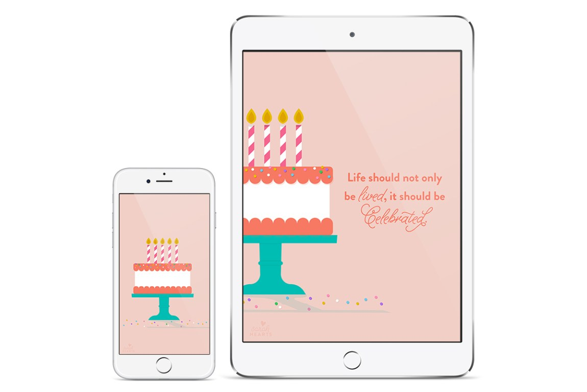 Celebrate the everyday with this free inspiring birthday cake wallpaper by @sarahhearts. Available for computers, phones, and tablets.