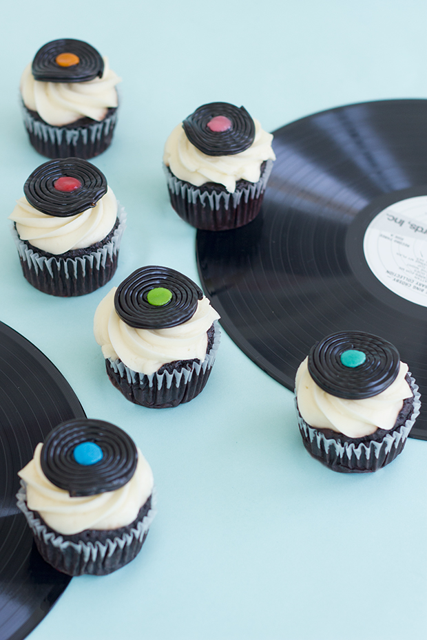 Candy record player cupcake toppers for Father's Day