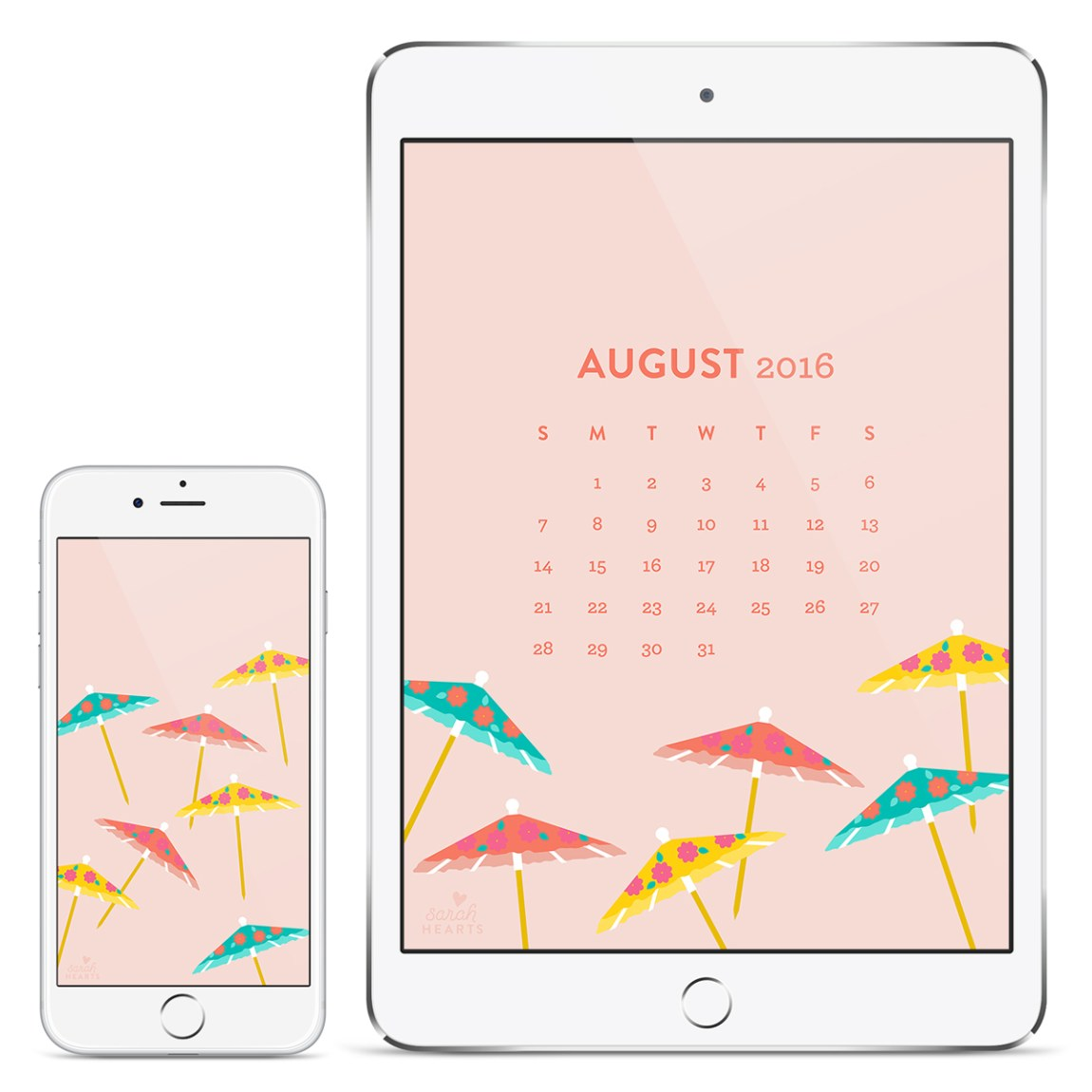 Savor summer by using this free August 2016 calendar wallpaper on all your devices! Features cute and colorful drink umbrellas.