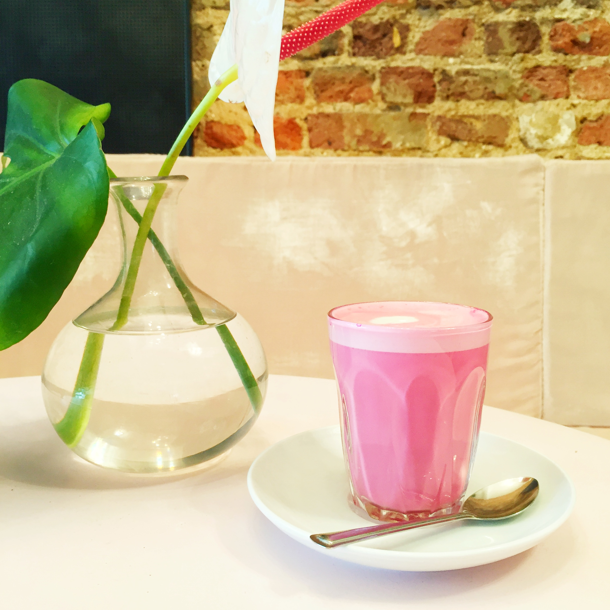Pink drink! A beet root almond milk latte served at Palm Vault in London.