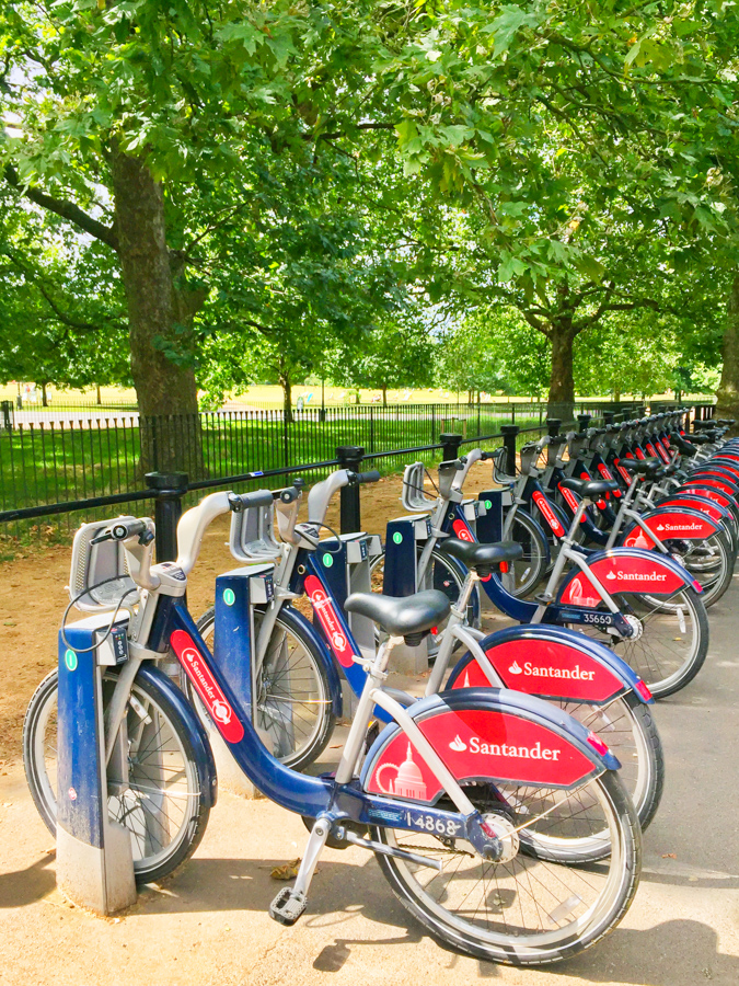 When visiting London rent a bike at one of the many kiosks around the city.