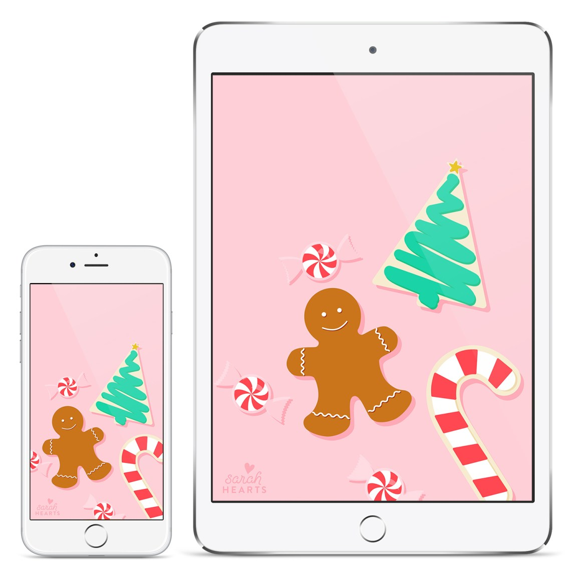 Deck your desktop, phone and tablet with this free festive Christmas cookie wallpaper!