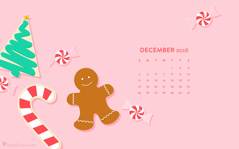 December 2016 Christmas Cookie Calendar Wallpaper Sarah