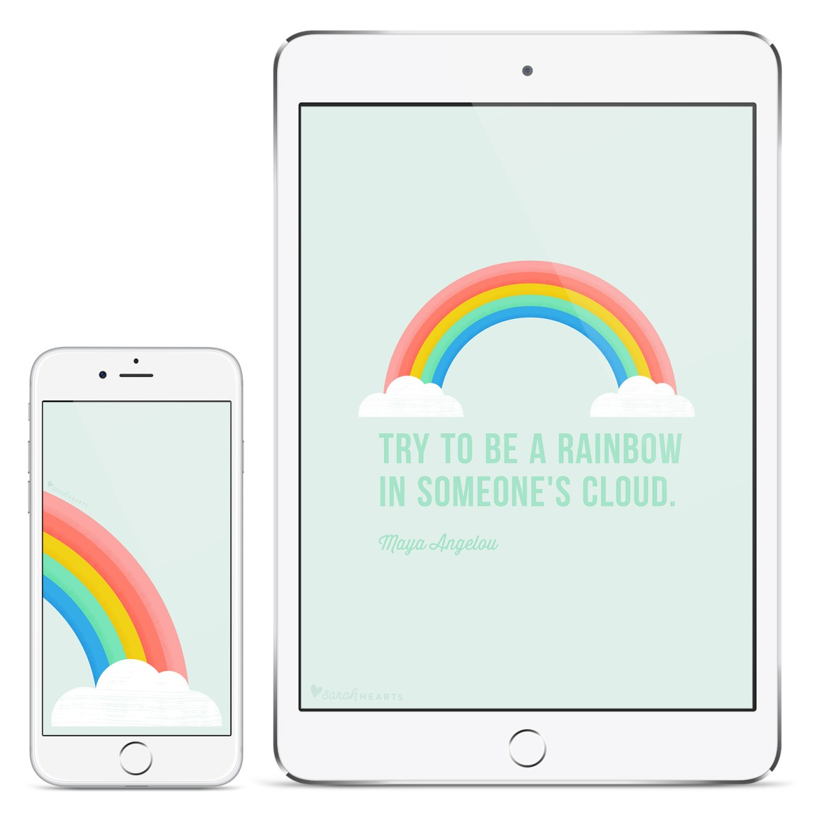 Add some cheer to your computer, phone or tablet with this free inspirational rainbow wallpaper!