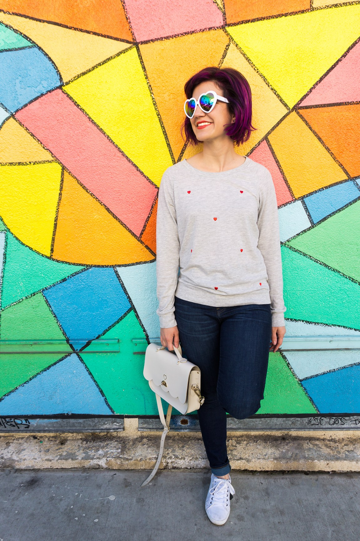 Make your own Anthropologie Heart-Patched Pullover shirt in minutes and for a third of the price! (Click through for video tutorial)