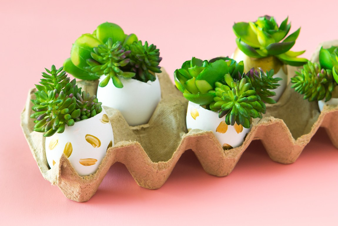 You don't need a green thumb to create these evergreen faux succulent planters. They are the perfect non-traditional easter egg decor for spring!