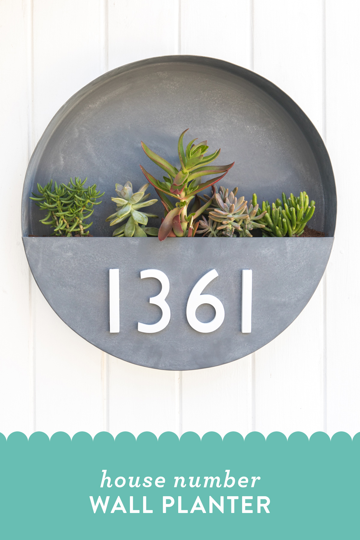 Learn how to make your own modern house number wall planter! It's a great way to spruce up a rental home!