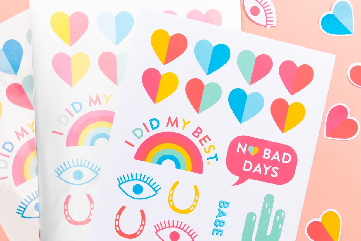 image regarding Printable Sticker Sheets named Do-it-yourself Printable Rainbow Sticker Sheets - Sarah Hearts