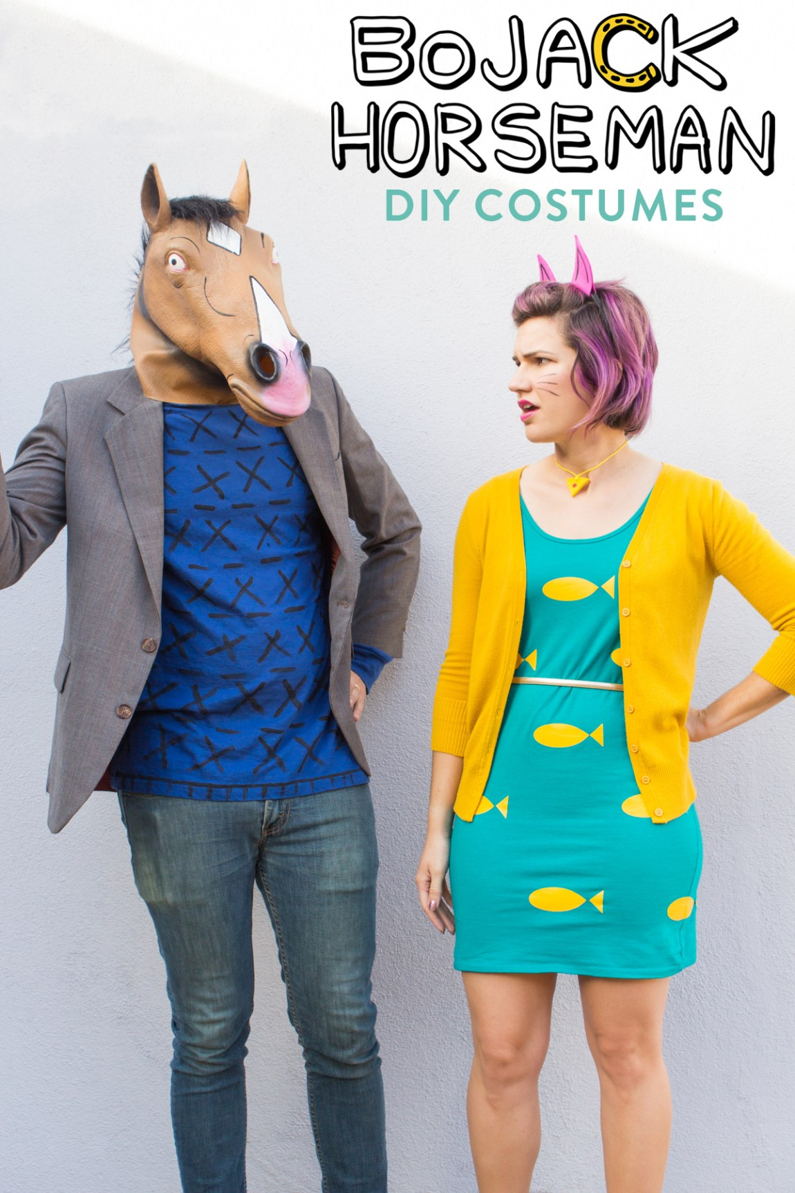 Make your own Bojack Horseman and Princess Carolyn costumes this Halloween. Click through to see how these were made.