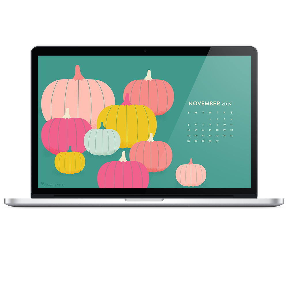 Download this free colorful pumpkin fall wallpaper with a November 2017 calendar.