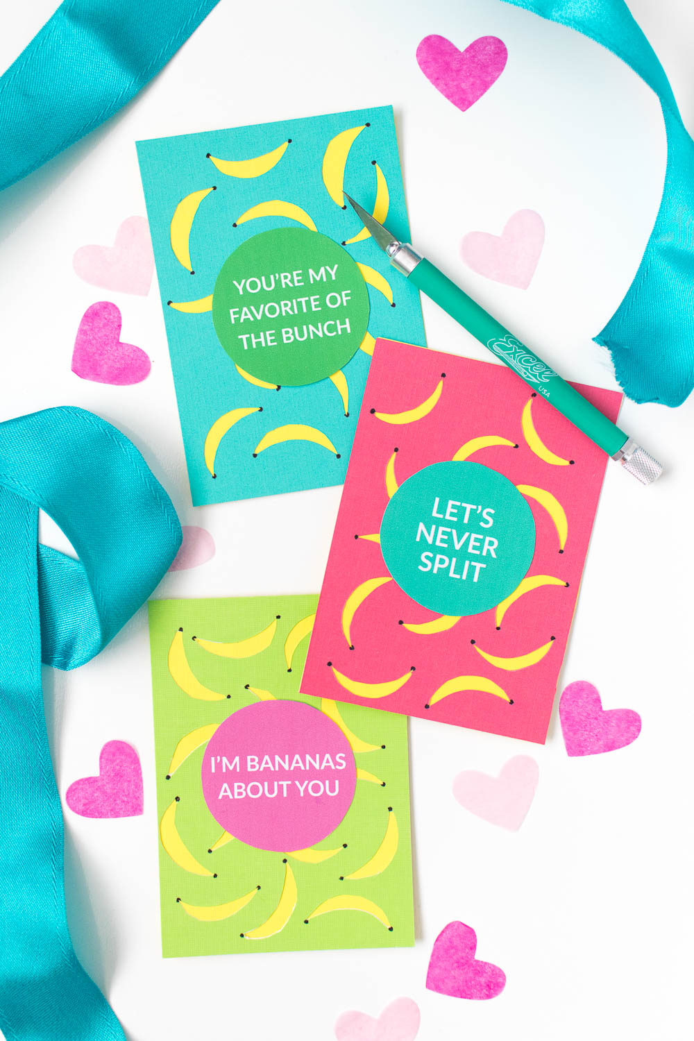 Free printable banana valentines day cards